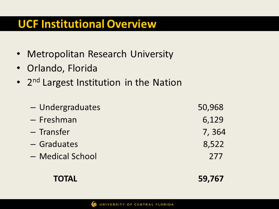 UCF Institutional Overview