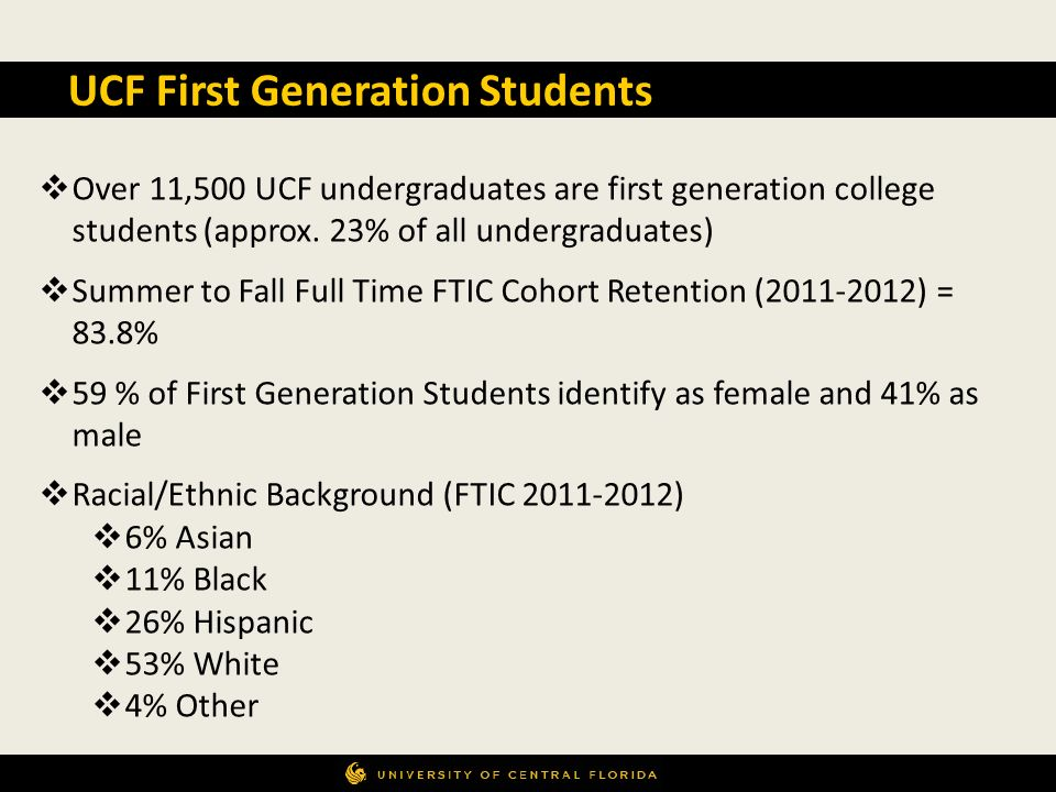 UCF First Generation Students