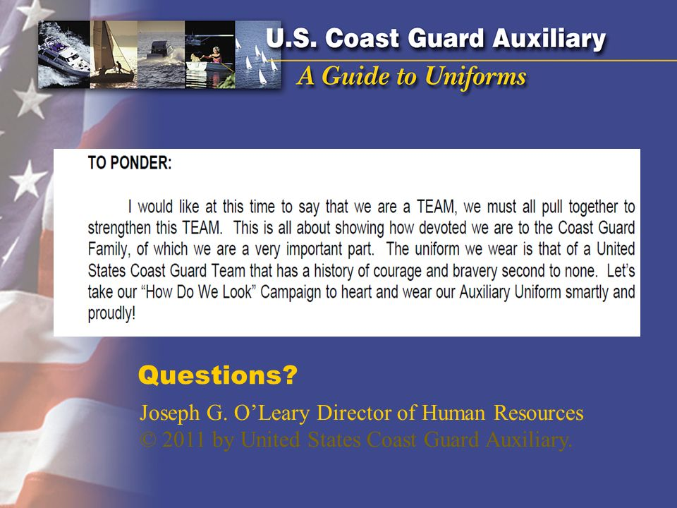 Questions Joseph G. O'Leary Director of Human Resources