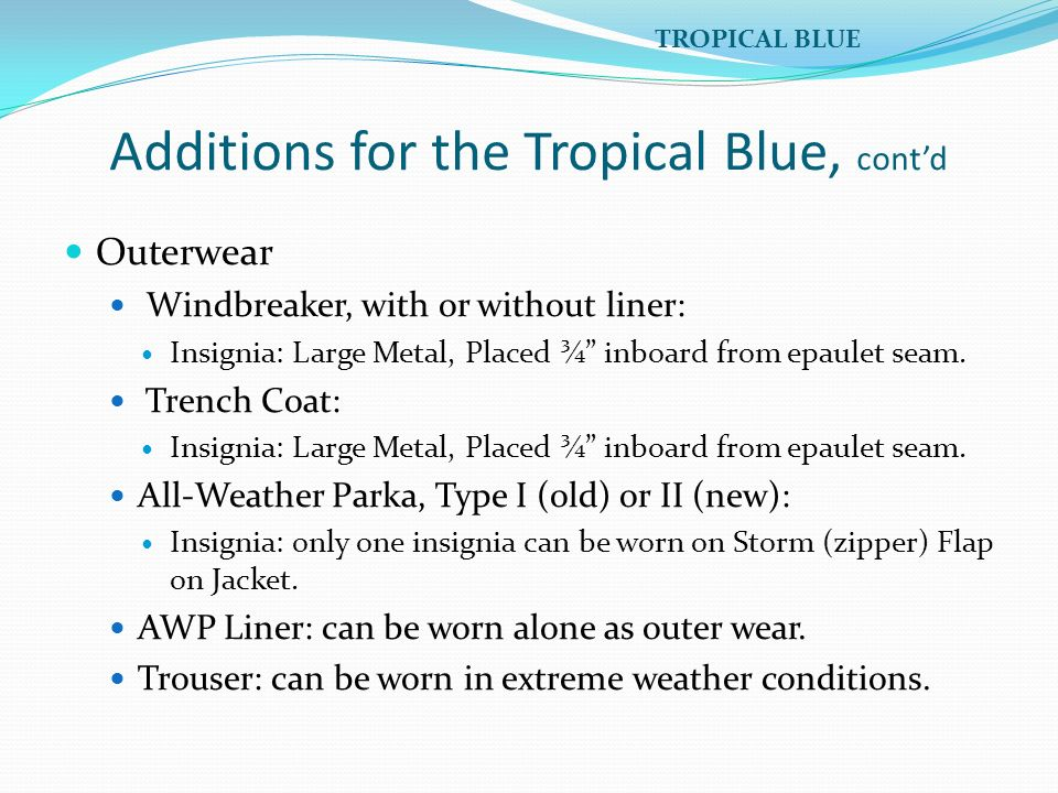 Additions for the Tropical Blue, cont'd