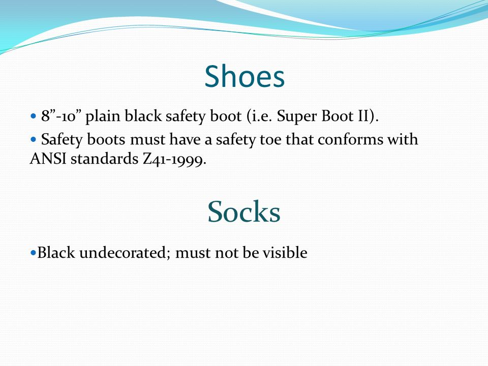 Shoes Socks 8 -10 plain black safety boot (i.e. Super Boot II).