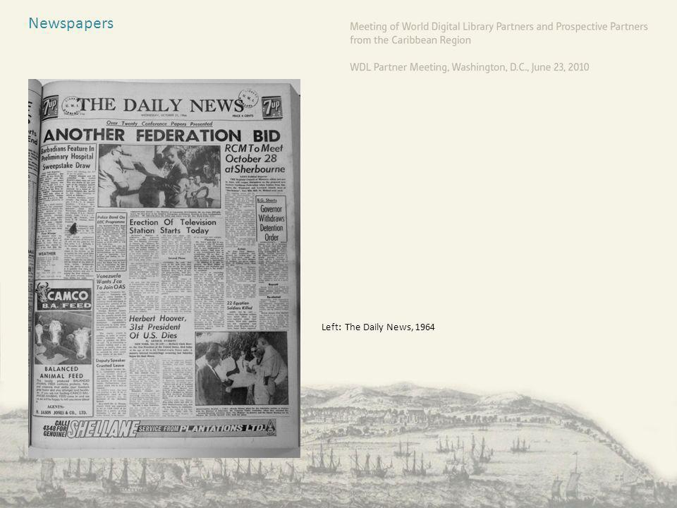 Newspapers Left: The Daily News, 1964