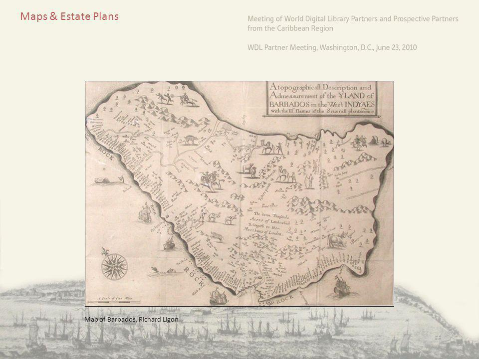Maps & Estate Plans Map of Barbados, Richard Ligon