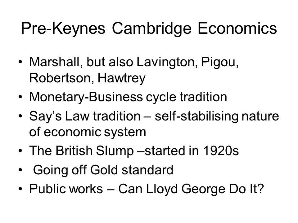 Pre-Keynes Cambridge Economics