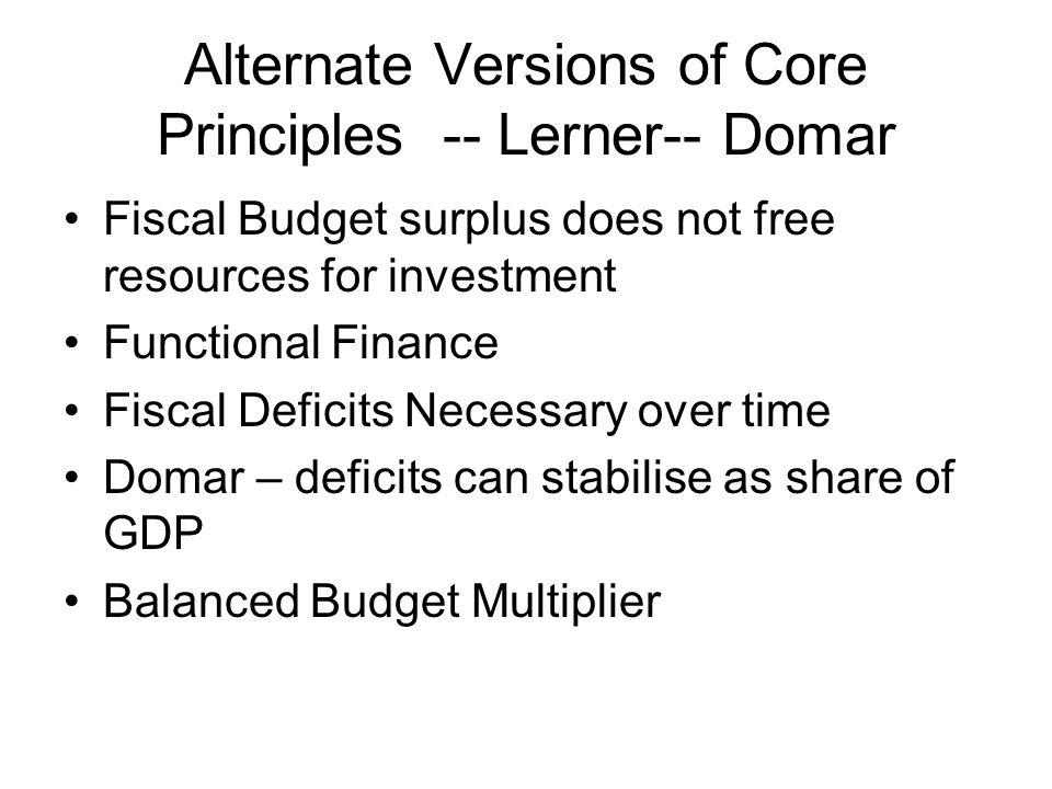 Alternate Versions of Core Principles -- Lerner-- Domar