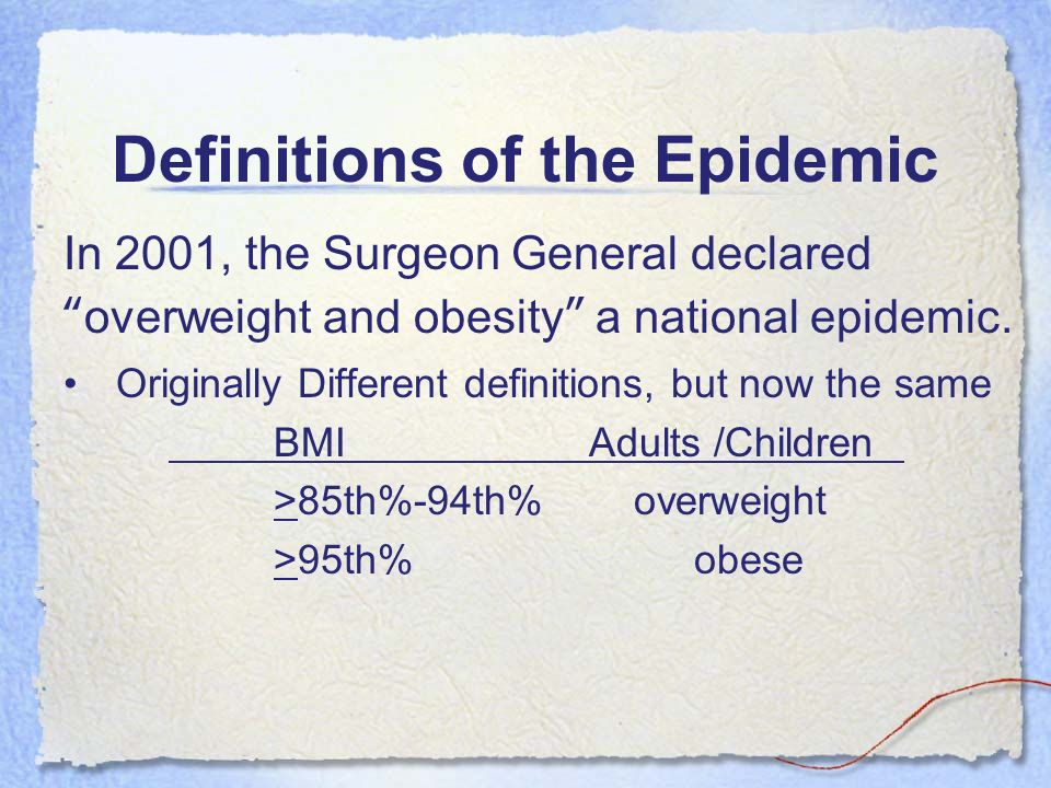 Definitions of the Epidemic