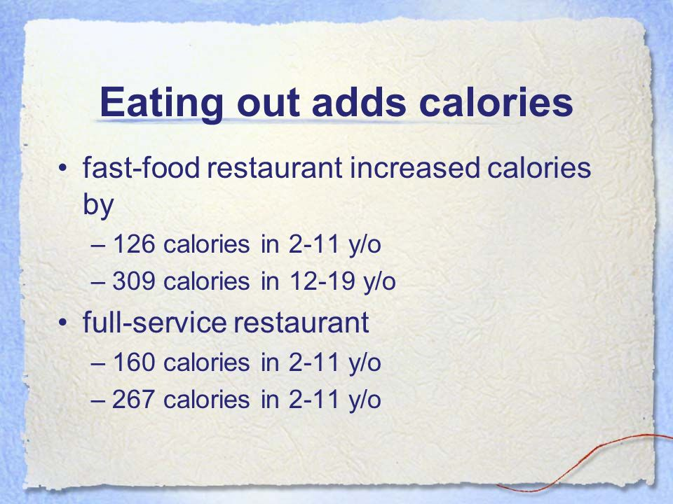 Eating out adds calories