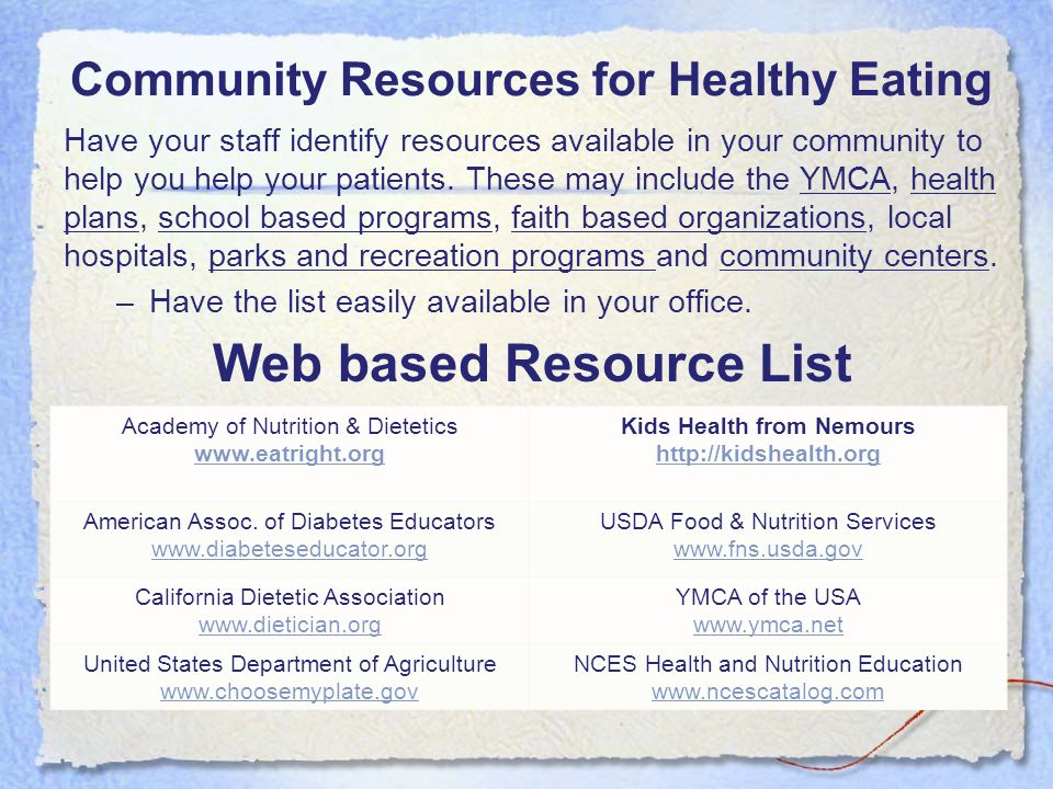 Community Resources for Healthy Eating