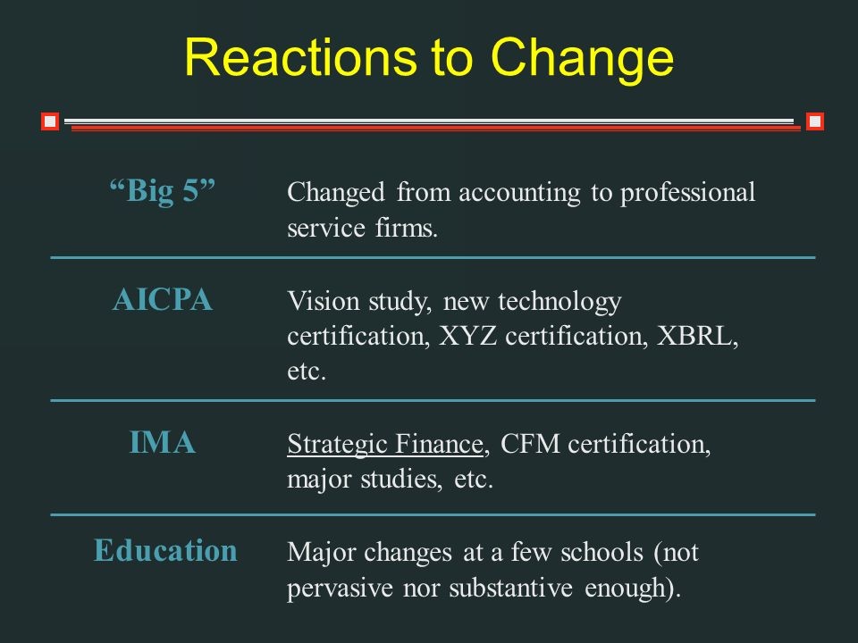 Reactions to Change Big 5 Changed from accounting to professional service firms.