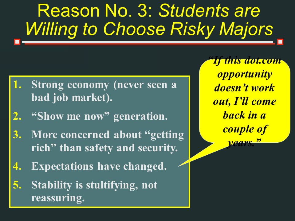 Reason No. 3: Students are Willing to Choose Risky Majors