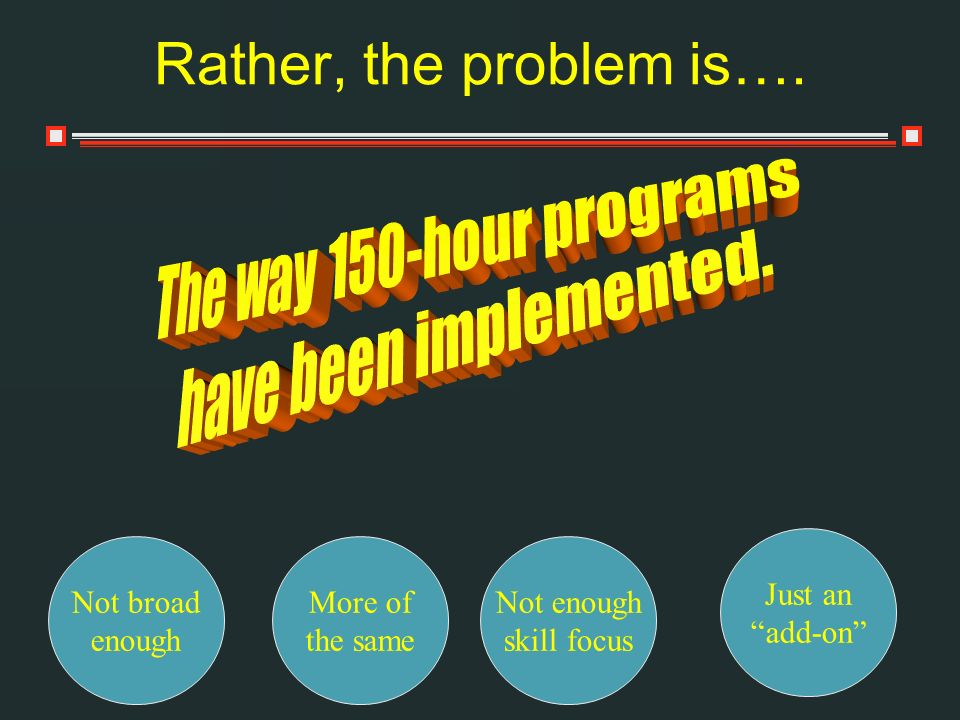 Rather, the problem is…. The way 150-hour programs