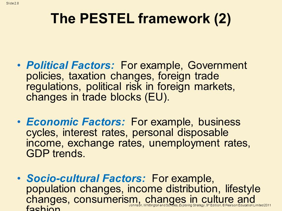3 pestel framework But by in large, the pestel framework applies quite well to business activities around the world today so, let us try to apply the framework to toyota's business environment.