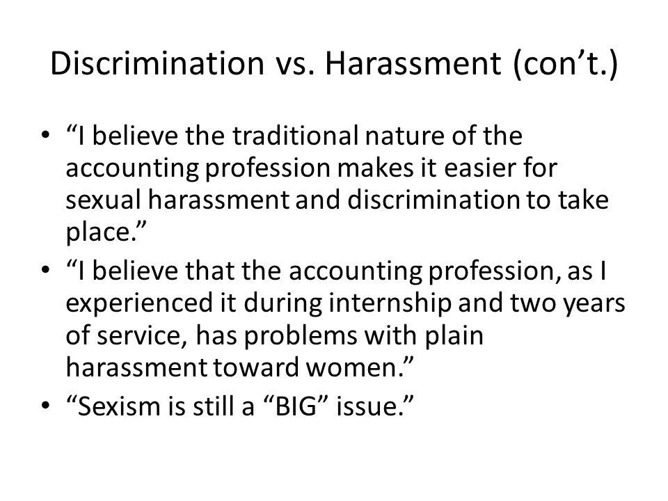 Discrimination vs. Harassment (con't.)