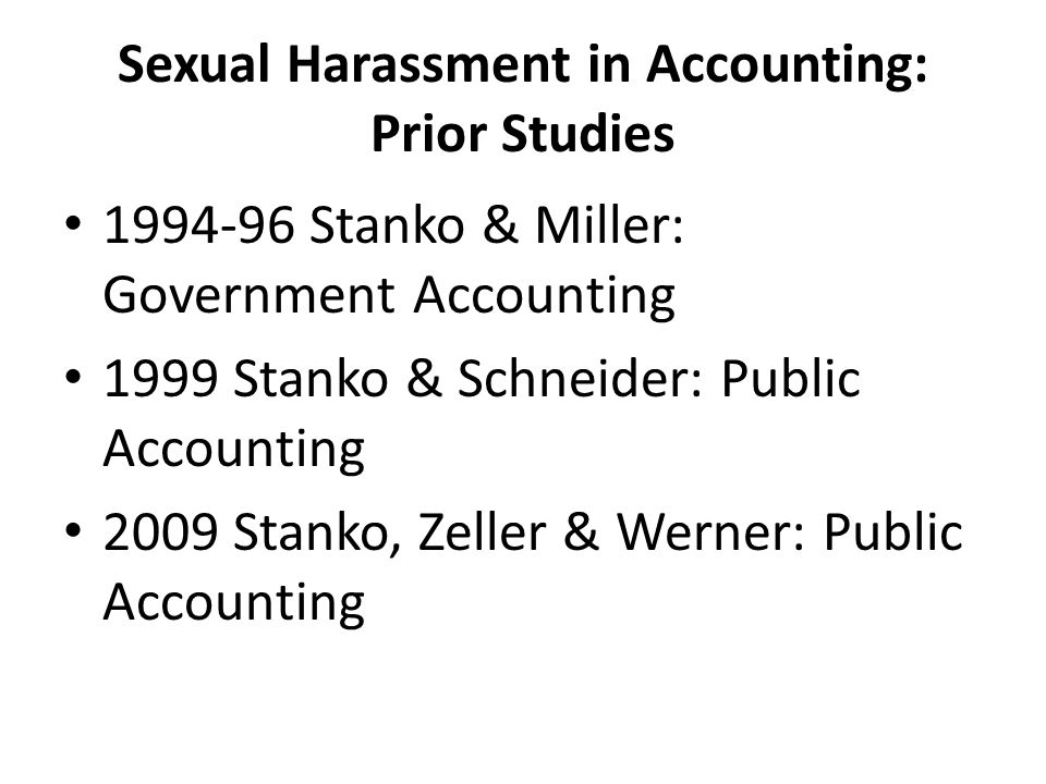 Sexual Harassment in Accounting: Prior Studies