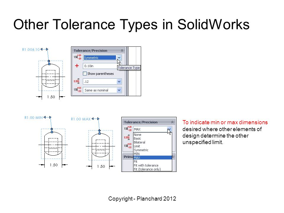 Other Tolerance Types in SolidWorks