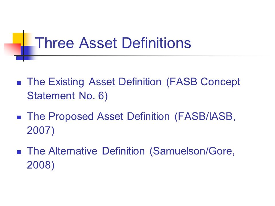 Three Asset Definitions