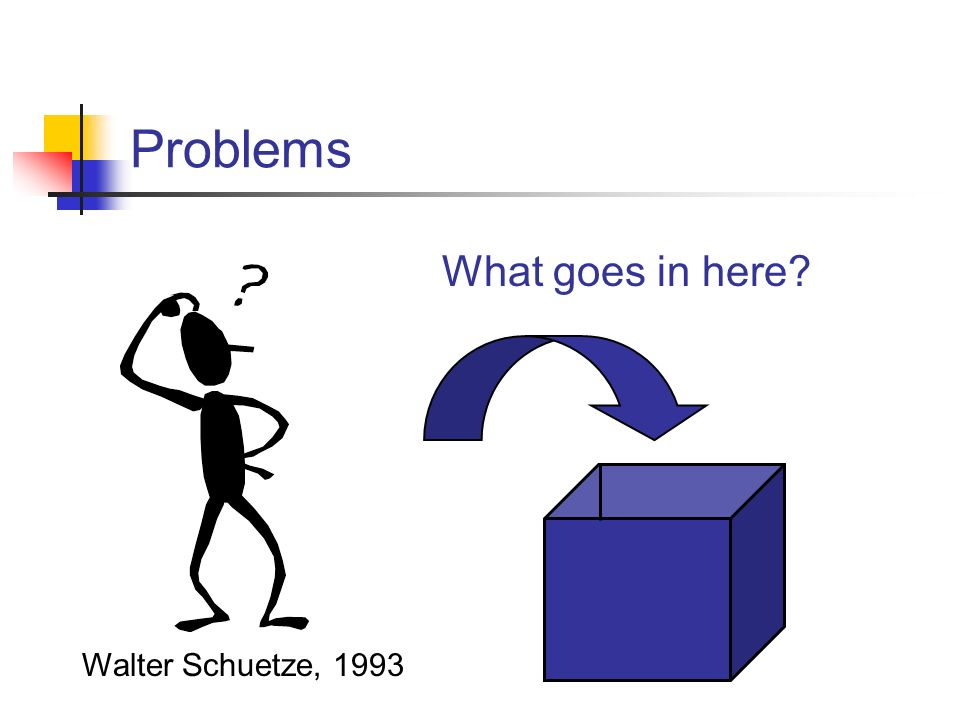 Problems What goes in here Walter Schuetze, 1993
