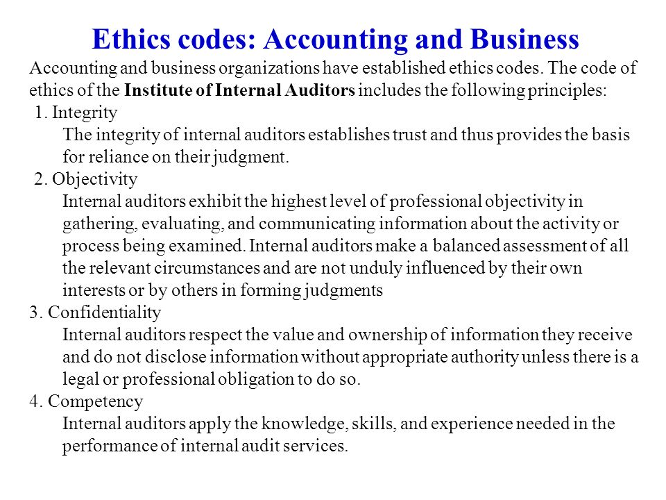 Ethics codes: Accounting and Business