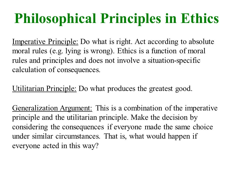 Philosophical Principles in Ethics