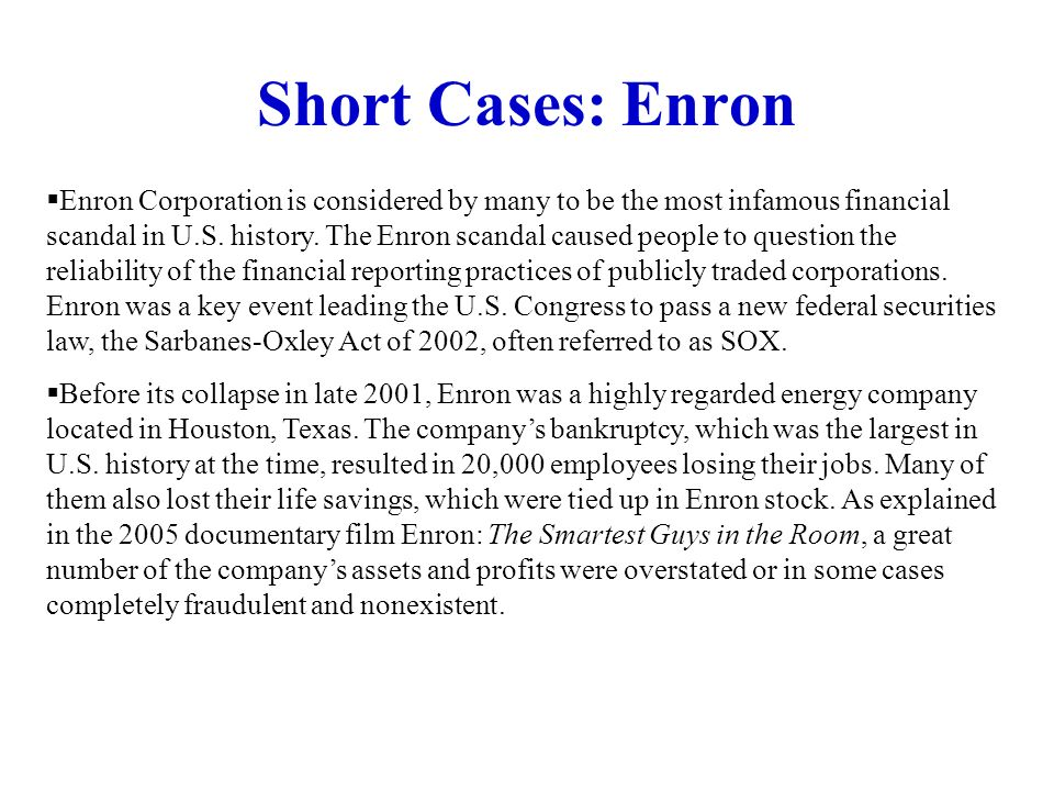 Short Cases: Enron