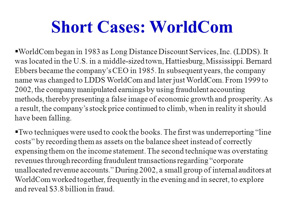 Short Cases: WorldCom