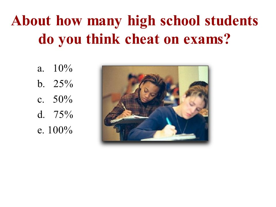 About how many high school students do you think cheat on exams