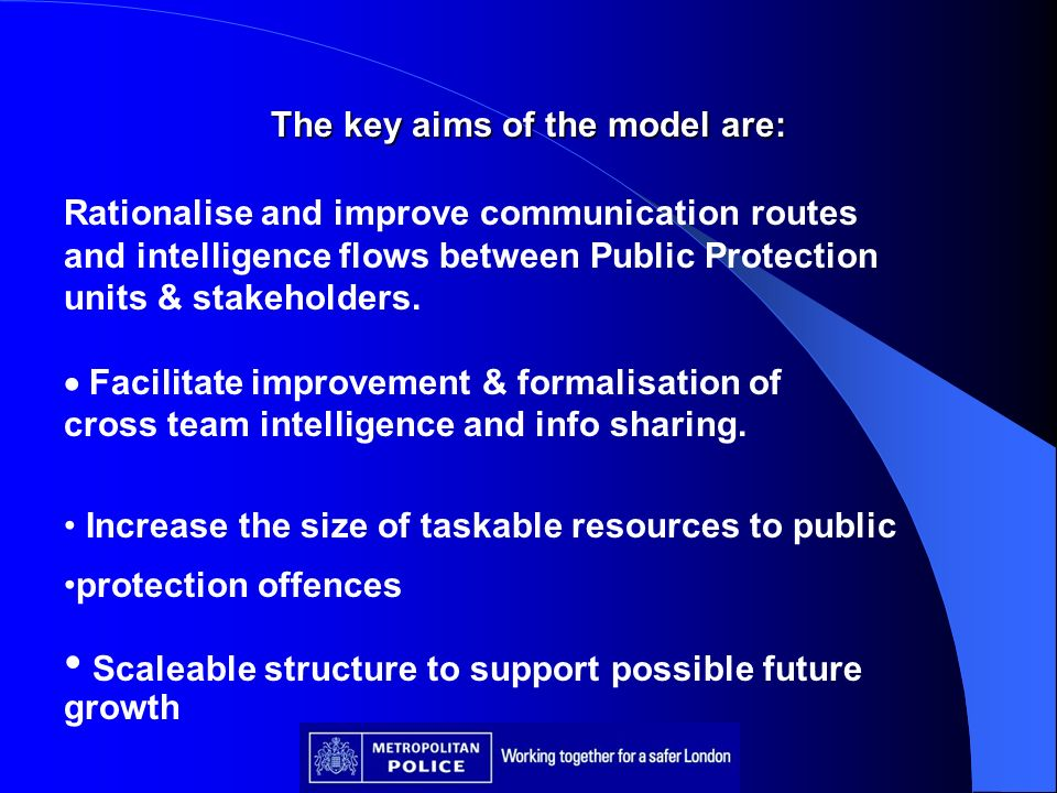 The key aims of the model are: