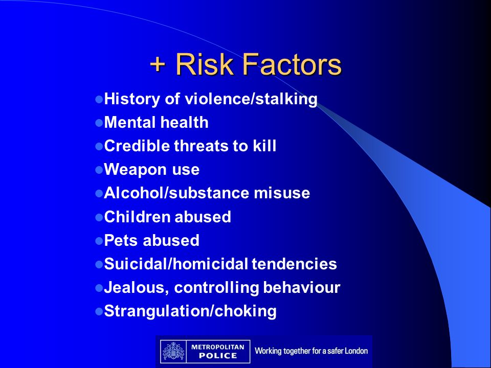 + Risk Factors History of violence/stalking Mental health