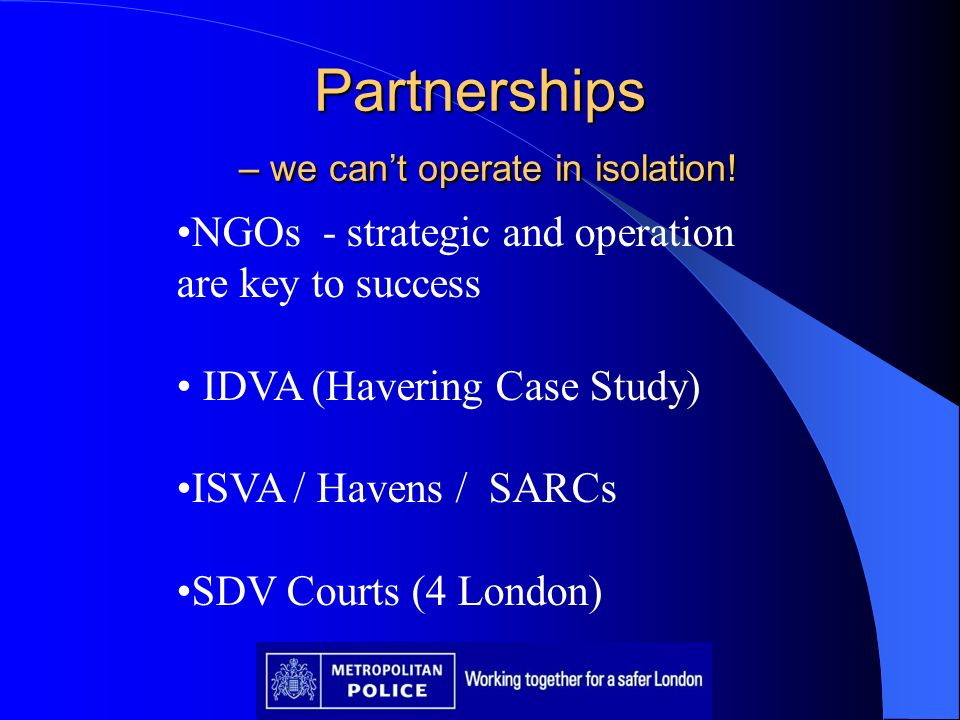 Partnerships – we can't operate in isolation!