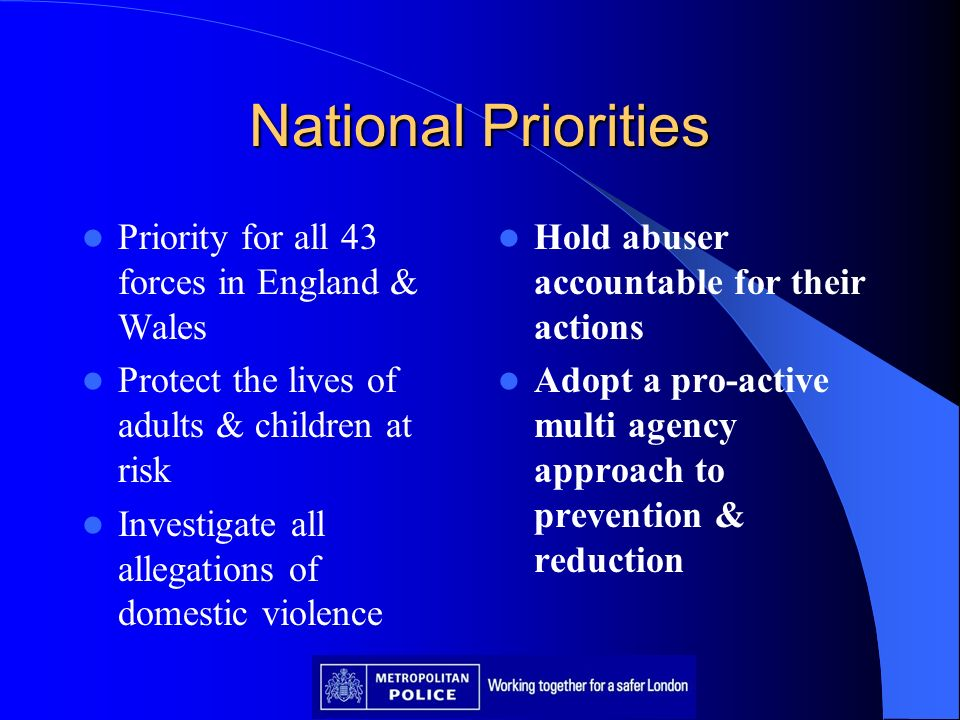 National Priorities Priority for all 43 forces in England & Wales