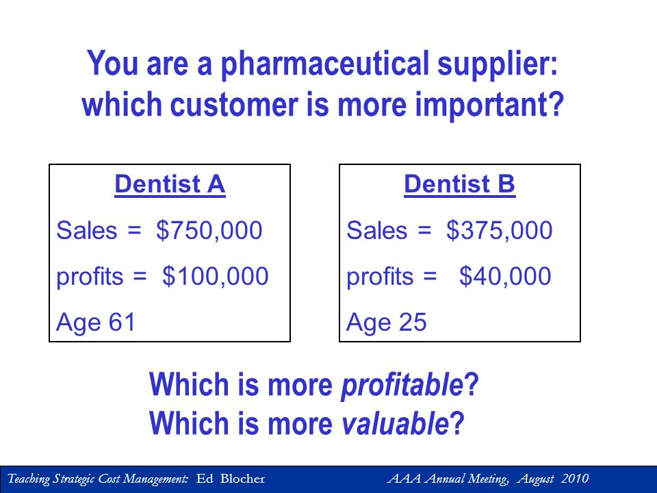 You are a pharmaceutical supplier: which customer is more important