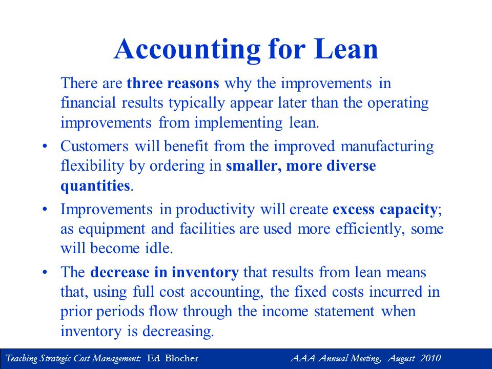 Accounting for Lean