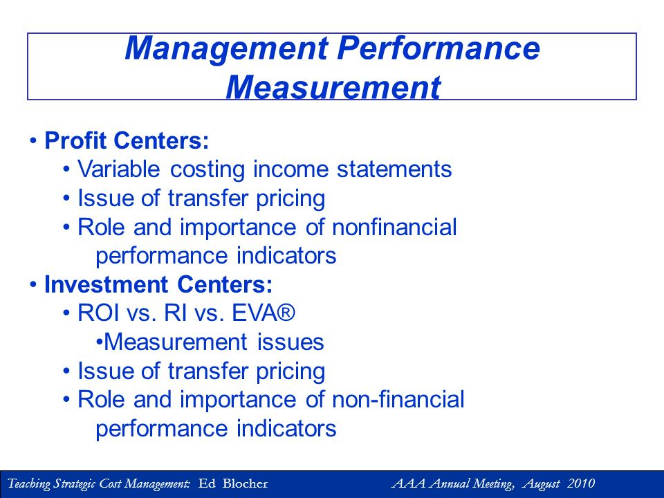 Management Performance Measurement