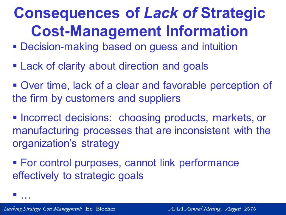 Consequences of Lack of Strategic Cost-Management Information