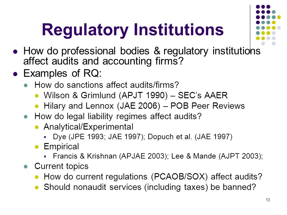 Regulatory Institutions