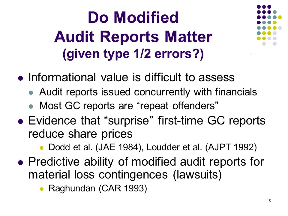 Do Modified Audit Reports Matter (given type 1/2 errors )