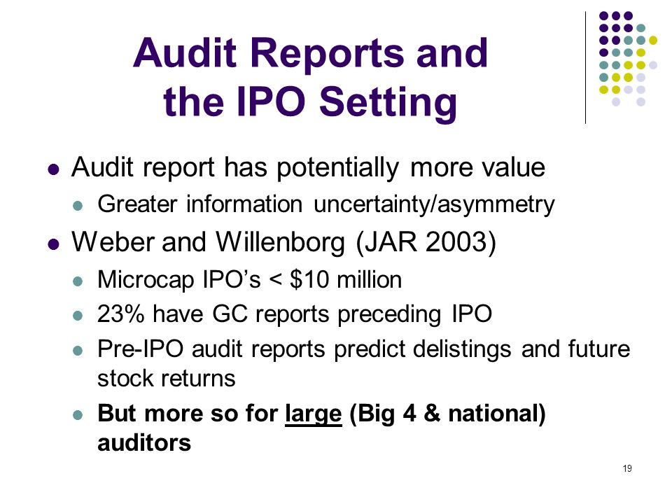 Audit Reports and the IPO Setting
