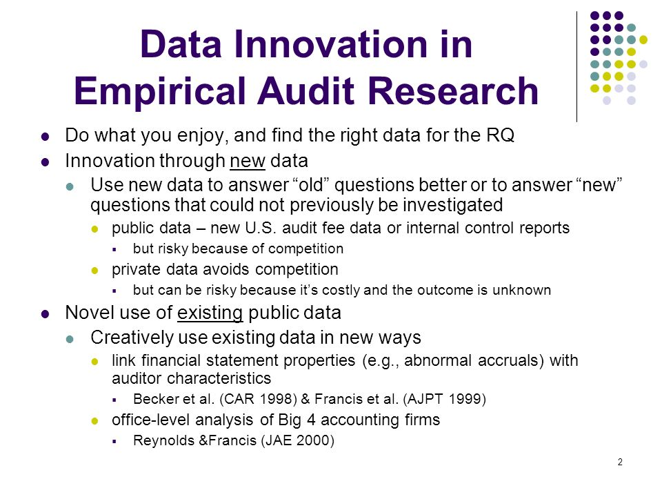 Data Innovation in Empirical Audit Research