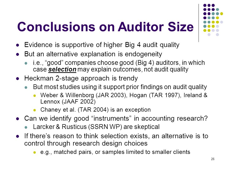 Conclusions on Auditor Size