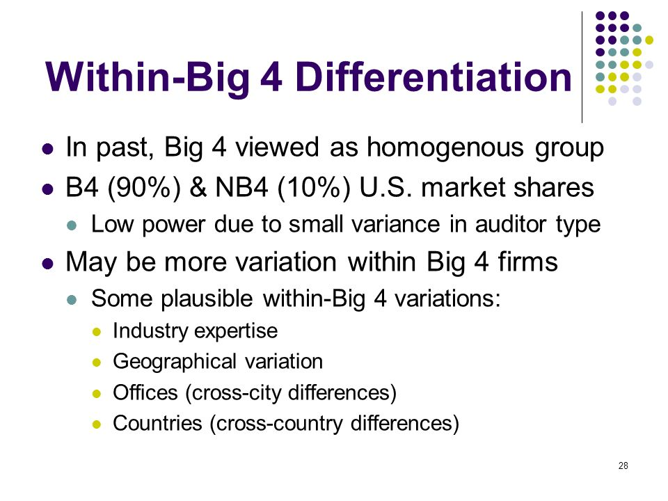 Within-Big 4 Differentiation