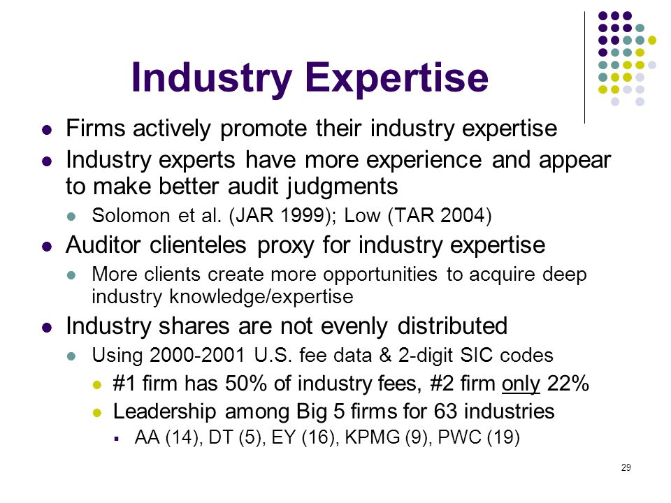 Industry Expertise Firms actively promote their industry expertise
