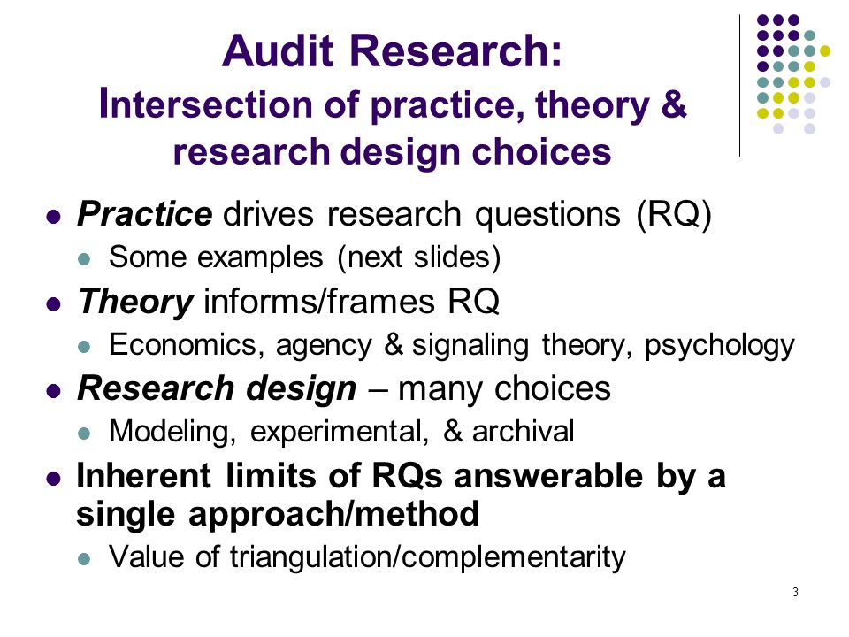 Audit Research: Intersection of practice, theory & research design choices
