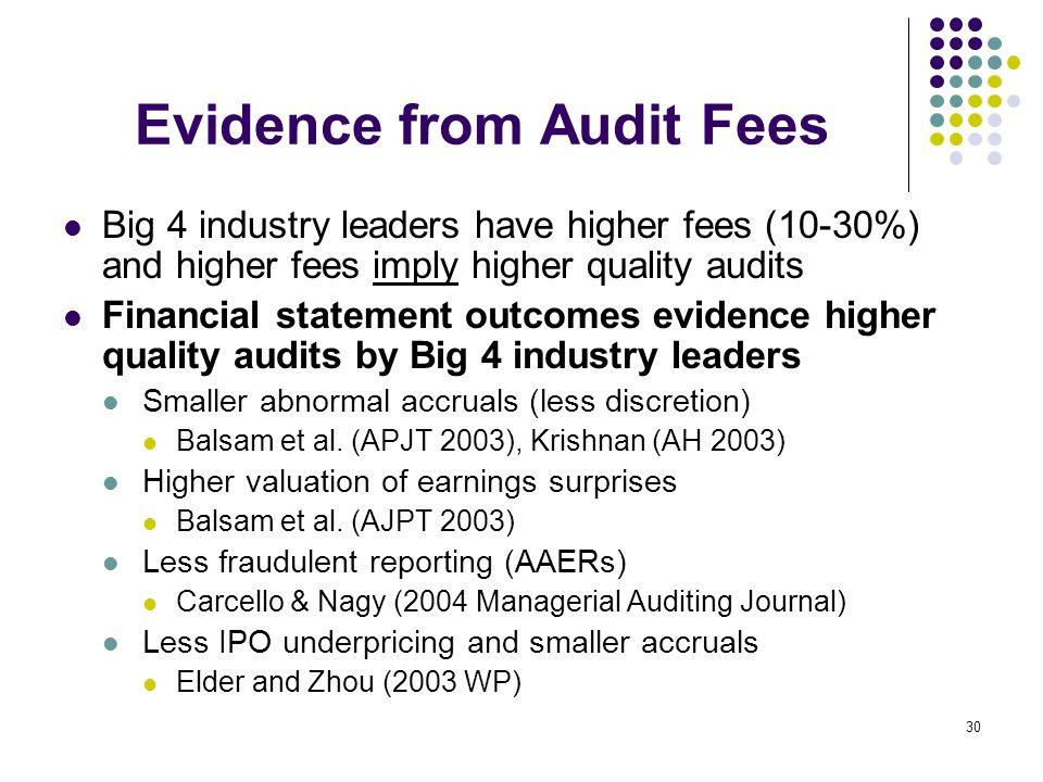 Evidence from Audit Fees