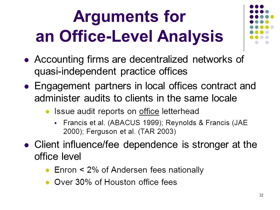 Arguments for an Office-Level Analysis