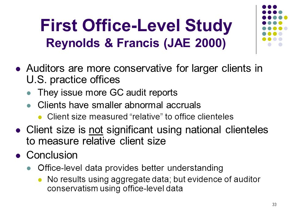 First Office-Level Study Reynolds & Francis (JAE 2000)