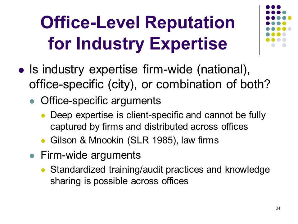 Office-Level Reputation for Industry Expertise