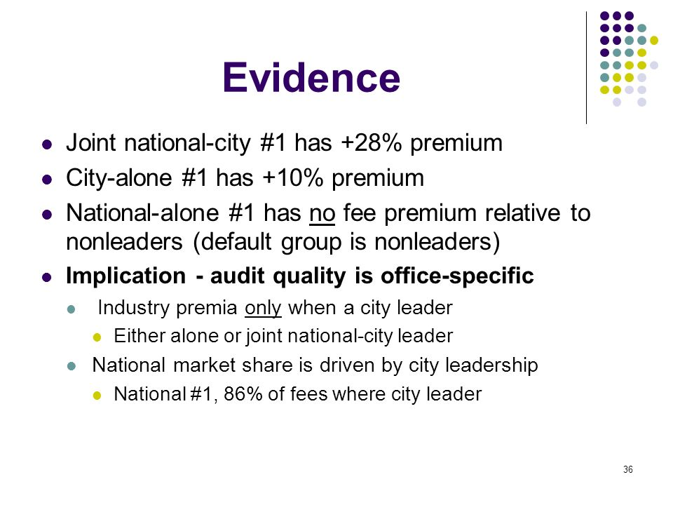 Evidence Joint national-city #1 has +28% premium