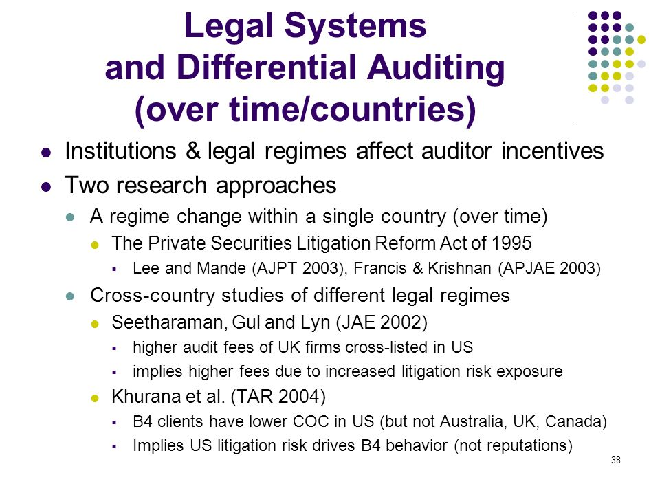 Legal Systems and Differential Auditing (over time/countries)
