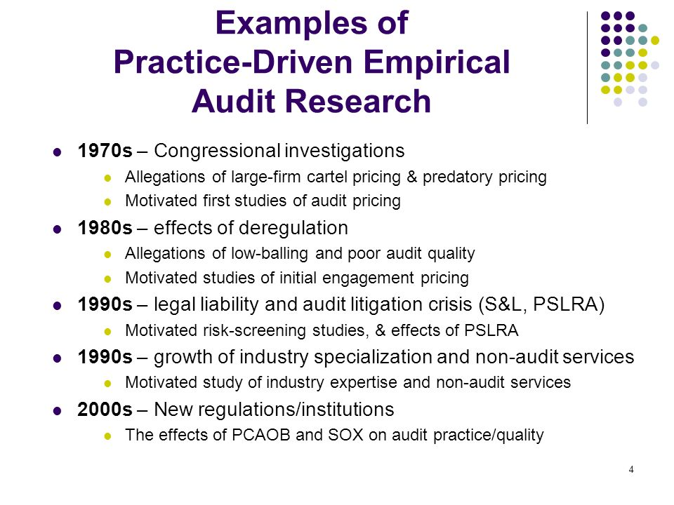 Examples of Practice-Driven Empirical Audit Research