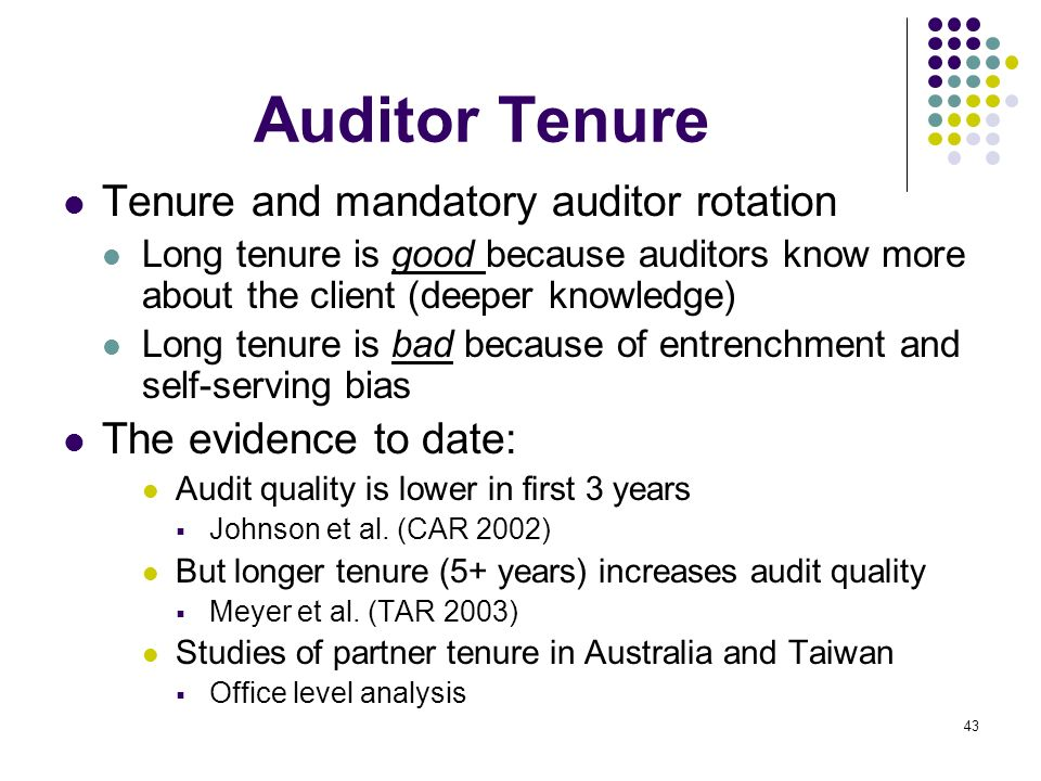 Auditor Tenure Tenure and mandatory auditor rotation